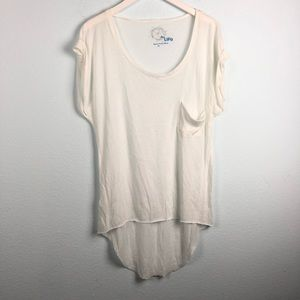 Blue Life white scoop neck pocket high low t-shirt